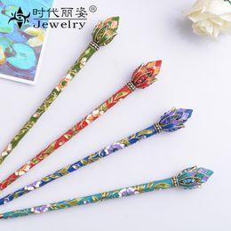 muylinda Chinese Style Lotus Flower Enamel Hair Pin Stick Accessories Women Costume Classic Metal Hair Clip Jewelry 1738 Q2 on Sale