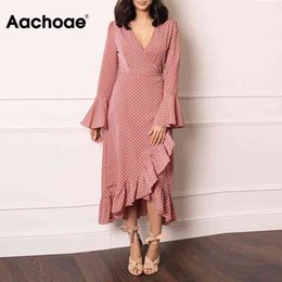 Wholesale wrap maxi dresses for sale - Group buy Aachoae Elegant V Neck Polka Dot Women Maxi Dress Flare Sleeve Wrap Split Party Dress Long Ruffle Casual Dresses Robe Femme