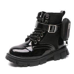 Boots Girls 2021 Autumn Single Fashion British Style Short Children Plus Velvet Leather Chic on Sale