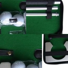 Discount mini golf putters wholesale Classic Mini Golf Tranning Aids Indoor Golf Ball Holder Golf Putter Putting Practice Kit Golfer Training Set Aids With Case 50bs dd