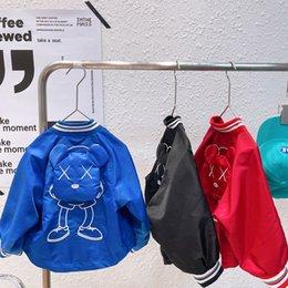 Ins meninos urso beisebol jaqueta crianças listra rodada coleira de manga longa outwear outono crianças desenhos animados casacos casuais roupas A7731 em Promoção