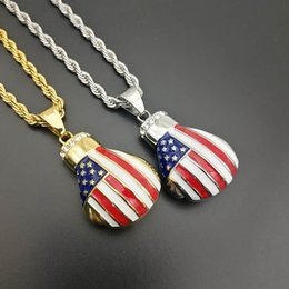 lacquered boxes wholesale Canada - New Hip Hop Jewelry Titanium Steel Gold Plated Diamond Baked Lacquer Flag Boxing Glove Pendant