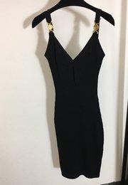 Sexy Frauen Runway Kleider V-Neck Sleeveless Strick Slim Kleid Hohe Qualität Weibliche Goldknopf Lange Milan Party Kleidung My1 im Angebot