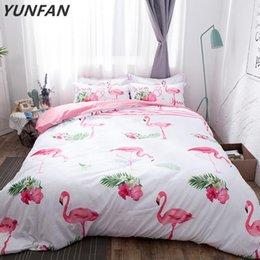 Bedding Sets Flamingo Ostrich White Pink 3pcs Soft Bedclothes Duvet Cover Quilt Pillow Cases BeddingOutlet Modern Fashion