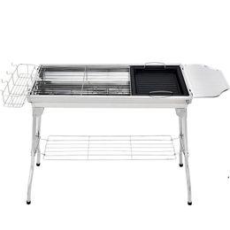 BBQ-Holzkohle-Grill Tragbare faltbare Edelstahl-Grill-Ofen-Regal für Garten-Familien-Party-See-Versand DWB8191 im Angebot