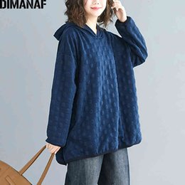 polka dot hoodies sweatshirts Australia - DIMANAF Plus Size Women Hoodies Sweatshirts Autumn Winter Female Pullover Tops Cotton Thick Loose Polka Dot Hooded Basic Clothes LJ200810