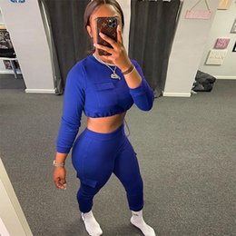 Wholesale womens suits set resale online - Womens Set Long Sleeve Pocket O Neck Sports Tops Tracksuit Sweatshirt Spring Autumn Sweat Suit Jogging Women s Hoodies Sweatshirts