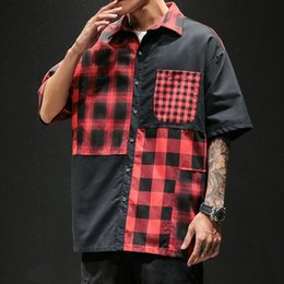 Wholesale black red checkered shirt resale online - Red And Black Plaid Shirt Men Shirts Summer Fashion Chemise Homme Mens Checkered Short Sleeve Clothes Men s Casual