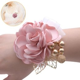 charms pins UK - Wedding Prom Wrist Corsage Lapel Pin Beautiful Elegant Charm Silk Bridesmaid Party Hand Flower Bouquet Bracelets