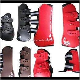 Toptan satış Kamp Yürüyüş Sporları Açık Havada Bırak Teslimat 2021 Bakım Ürünleri için Ekipmanları 4 Adet Ayarlanabilir At Boots Equine Ön Arka Bacak Guard E