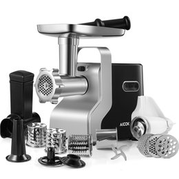 AICOK Electric Meat Grinder, 2500W Max Powerful 5-IN-1 Mincer with Sausage Stuffer, Vegetable Slicer, Tomato Juicer, Kubbe Kits, 3 Stainless Steel Grinding Plates on Sale