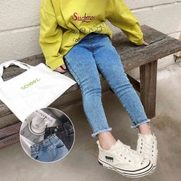 girls flared jeans UK - Korean style fashion girls high waist Fur-trimmed jeans Spring Autumn girl skinny casual denim pants 210508