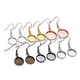10pcs 10-25mm Vassoio Cabochon Cabochon Orecchino Hook Gancio Blank Setting Round Pendant Ear Beach Risultati per gioielli di cammeo di vetro fai da te Fare 1171 Q2 in Offerta