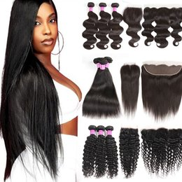 10A Raw Brazilian Virgin Human Hair Bundles with Closure Straight Body Deep Water Wave Kinky Curly Cuticle Aligned Weave Extensions and Frontal for Black Women on Sale