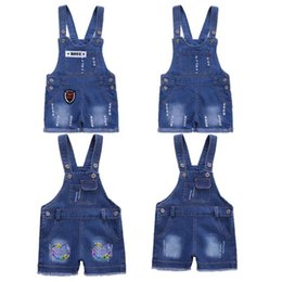 boys jeans straps UK - Baby Girl Cute Sweet Fashion Boys Washed Hole Jeans Shorts Kids Denim Romper Buttons Jumpsuits Straps Short Pants1-5Y