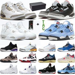 Wholesale Men Basketball Shoes University Blue Black Cement 4 4s White Oreo UNC Taupe Haze OG Bred Mens Trainers Sneakers Sports
