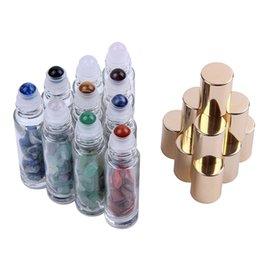 venda por atacado Natural Pedras Semipreciosas Pedras Essenciais Gemstone Roller Ball Garrafas Clear Vidro Cura Cristal Chips 10ml Livre DHL