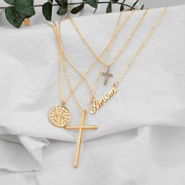cross pendant necklace womens 2021 - Womens Fahsion Cross Pendant Necklace Multi-Layer Neckband Neck Accessories ENDQ Necklaces