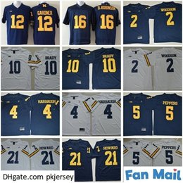 peppers jersey michigan Australia - NCAA Michigan Wolverines Football College 10 Tom Brady Jerseys 2 Charles Woodson 4 Jim Harbaugh 5 Jabrill Peppers 21 Desmond Howard Jersey