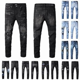 Wholesale 2021 Mens Designer Jeans Distressed Ripped Biker Slim Fit Motorcycle Bikers Denim For Men s Fashion Mans Black Pants 21ss pour hommes Hip-Hop Jean