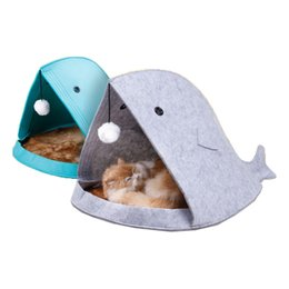 Non-woven Foldable Felt Pet Nest Cat Houses, Shark Type, Removable and Washable on Sale