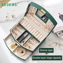 layer drawer box UK - Creative Double-layer Jewelry Storage Box Large Capacity Drawer Type Ear LF89010 Boxes & Bins