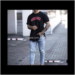 american apparel jeans UK - Clothing Apparel Drop Delivery 2021 Mens Jeans Hole Distressed Summer Slim Denim Trousers European And American Style Asian Size1 Elmrg