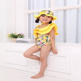 baby swim hats UK - One-Pieces Wholesale Summer Baby Girls One Piece Swimwear Lovely Yellow Floral Swimsuits+ Hat Children Fashion Swim Wear E06 I6KH