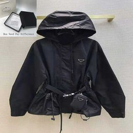 Wholesale Womens Designer Jacket with Hooded Fashion Solid Color Windbreaker Jackets Casual Ladies Jacket Coat Clothing Size S-L