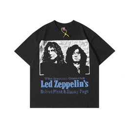 band shirts women UK - sleeve Zeppelin short Vintage spaceship band printed high street men's and women's T-shirt fashion factory wholesale outlet