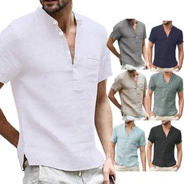 camisa henley hombres al por mayor-Henley de algodón para hombre Henley camisetas Casual corto de manga larga Hippie Button Up Beach T Shirts Color sólido transpirable