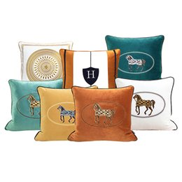 Wholesale Luxury Living Room Sofa Decorative Pillow Case Embroidered Horse Cushion Cover Hotel Bedroom Bedside Square Throw Pillowcases