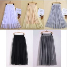 summer sun dresses 2021 - New Arrivals Tulle Skirts Womens Summer Fashion High Waist Long Slim Skirt Elastic Waist Sun Fluffy Tutu Skirt
