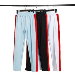 Wholesale Mens Track Pant Casual Designer High Quality Solid Color Joggers Pants Rainbow side stripes Pant Trousers Elastic Waist
