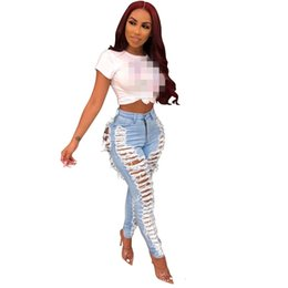 club jeans for women NZ - Womens Sexy Ripped For Women Fashion Casual Club Hole Denim Pants Femme Bodycon Hollow Out Pencil Long Jeans Vestidos