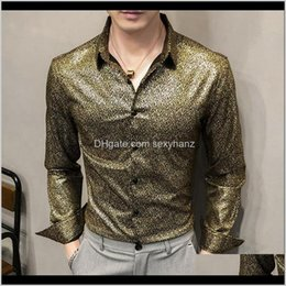 mens shirt british style casual 2021 - Mens Clothing Apparel Drop Delivery 2021 British Style Casual Slim Fit Night Club Party Wear Tuxedo Gold Snowflake Floral Shirts Long Sleeve
