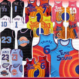 Wholesale movies resale online - 2021 BLUE Lebron James Michael NCAA Bugs Movie Space Jam Tune Squad Basketball Jersey Lola D DUCK Taz Tweety R RUNNER