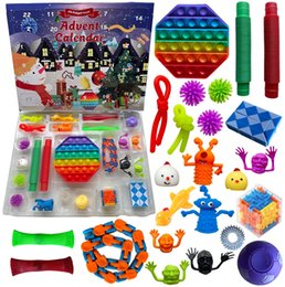 24pcs / set Christmas Fidget Toys Advent Calender Casi Box Regalos Dimple Dimple Toy Squerezenovelty Party Favor de la historieta LJJA4152 en venta