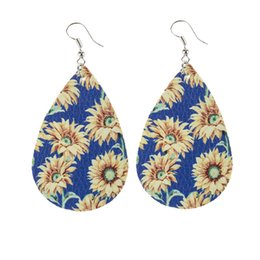 High Quality Sunflower Printed Faux Leather Teardrop Earrings Colorful Layered Flower Pattern Water Drop Earrings Creative Gifts 1621 Q2 on Sale