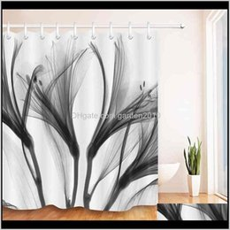 white bathroom curtains Australia - Curtains Abstract Black Xray Blossom Transparent Flower Nature White Shower Curtain Art Waterproof Bathroom Fabric For Bathtub Decor 2 Ub87M