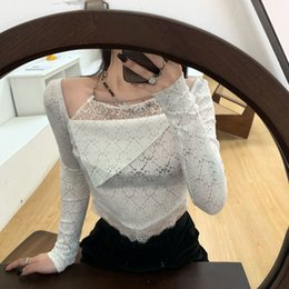 short chain designs UK - Fashion short top female spring and summer 2021 new chain long sleeve T-shirt tide INS design sense small crowd bottom shirt X0424
