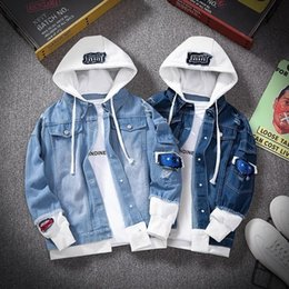 Wholesale mens denim hoodie resale online - Mens Suits Blazers Spring Autumn Hooded Denim Jacket Hip Hop Jeans Coat Retro Jean Street Casual Bomber Outerwear Hoodies