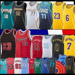 LUKA 77 JA 12 Morant Russell Doncic Westbrook Koszykówka Jersey Los 23 6 Angeles Scottie Dennis Pippen Demar Rodman Carmelo Derozan Anthony Lonzo Davis Ball Space Dżem