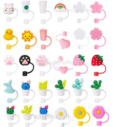 Creative Silicone Straw Tips Cover Reusable Drinking Dust Cap Splash Proof Plugs Lids Anti-dust Tip Sunflower Cherry Blossom Rainbow Cat Paw For 6-8mm Straws on Sale