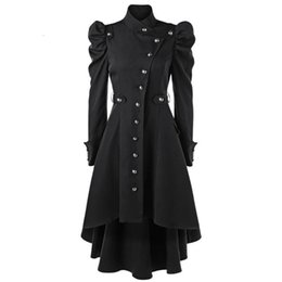 Wholesale trench coat collar up resale online - Wipalo Gothic Women Winter Puff Shoulder Button Up Dip Hem Trench Coat Fashion Stand Up Collar High Waist Outerwear Coat XXL