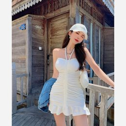Wholesale free sexy summer tube for sale - Group buy Woman Summer dress New Mouthless Sexy Strapless Tube Top Train chord Plooien Golfed Zoom Pocket Hip Rok696