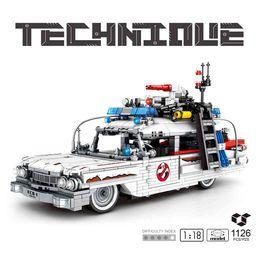 Wholesale MOC 1126Pcs High-Tech Ghostbusters Ecto-1 & 2 Kids Toys Creators Cars Bricks Movie Film Buffy e Building Blocks For Children X0503