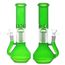 two tree perc bong Canada - 10.5 inchs glass beaker Bong 6 Arm Tree Perc dab Oil Rigs recycler bong With 14.4mm glass oil burner pipe Two functions