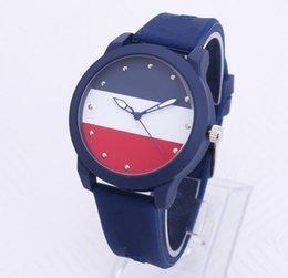 women men silicone strap quartz watches fashion casual red white flag ladies watch wholesale on Sale