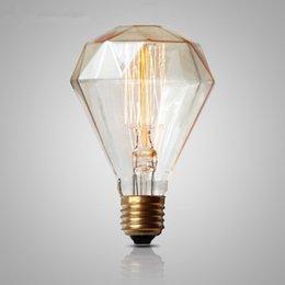 Wholesale Retro Edison Light Bulbs Diamond Bulb G95 E27 40W Incandescent Filament Vintage Lamp Tungsten carbon Lamps Home Decor